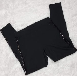 PINK VS BLACK SEQUIN PINSTRIPE LEGGINGS!